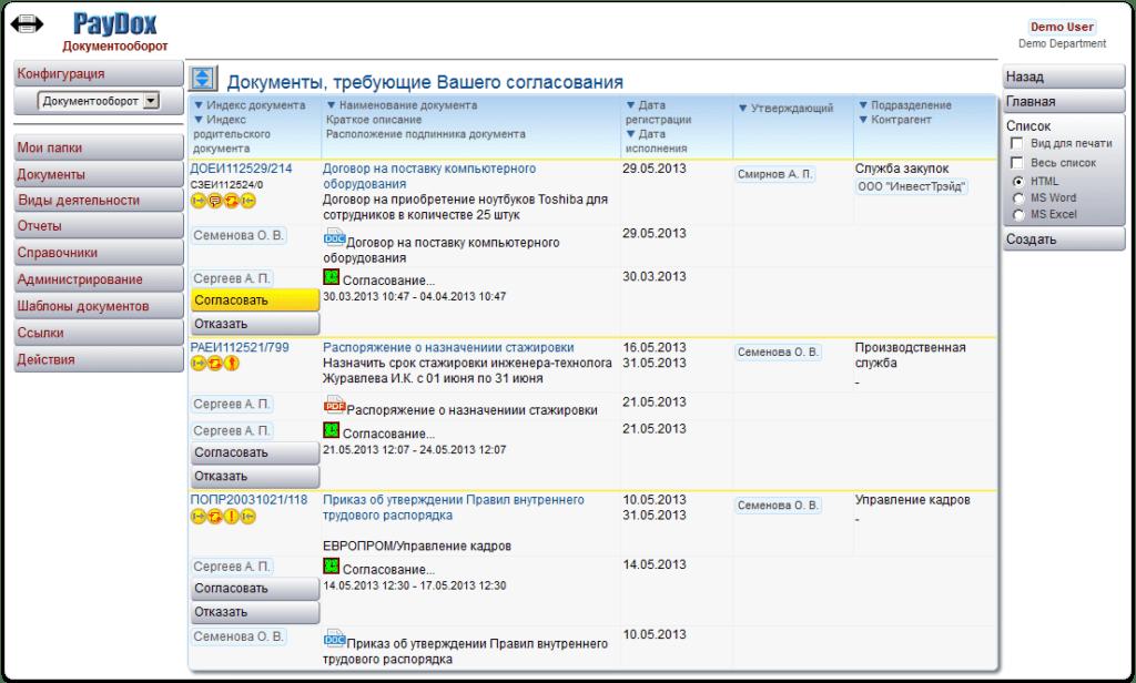 Система электронного документооборота и поддержки совместной работы PayDox