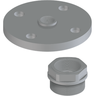 Flange and threaded adapter suitable for VEGAPULS 64